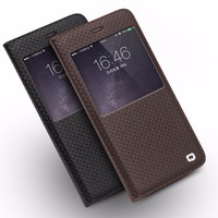 QIALINO Handmade Case, View Window Flip Case For iPhone High Quality Genuine Leather Smart Case For iPhone 6 plus