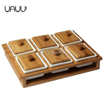 Wood rack hold bulk rectangle small ceramic spice jar with wooden lids