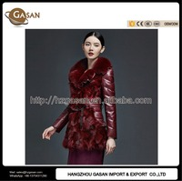 Women Winter Leather Sleeves Fox Fur Jacket Coat With Waistband