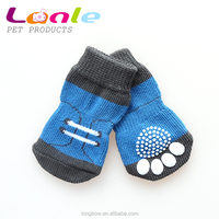 China wholesale manufacturer of eco cotton knitting pet socks, anti-slip rubber indoor cat dog socks,pet accessories products