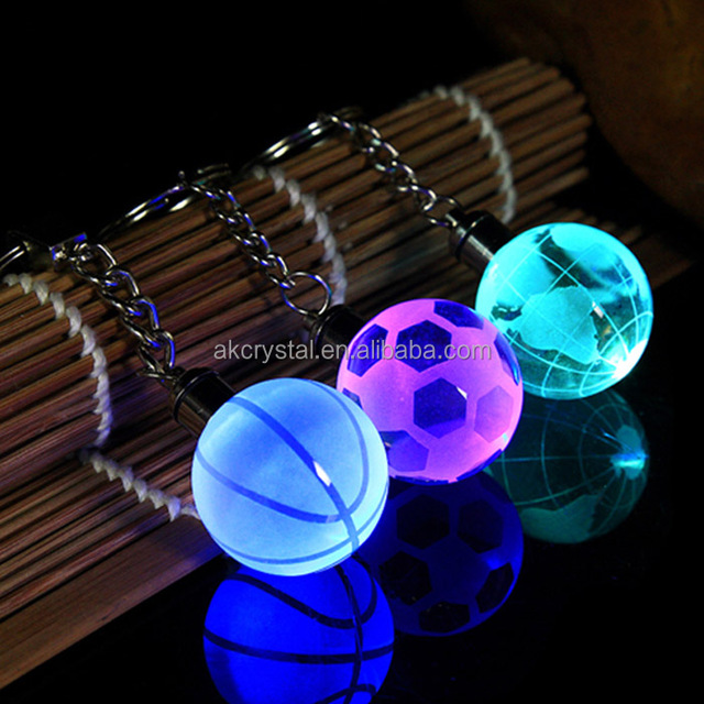 Wholesale sports gift led light crystal globe ball keychain