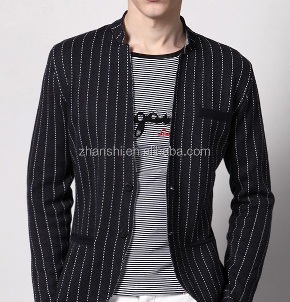 Design Leisure Two Buttons Stripe Denim Suits For Men