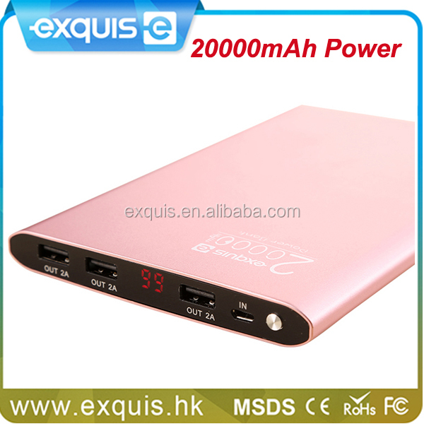 2016 New Products Large Capacity Mobile Power Bank 20000mAh,Ultra thin Slim 3 USB Output Polymer Power Bank
