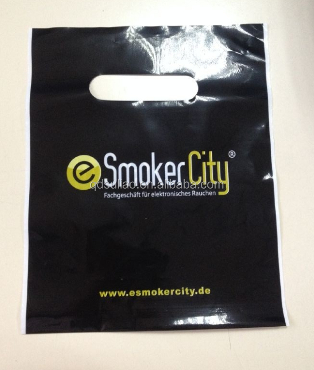 OEM Custom Logo Design Printed Biodegradable Shopping Plastic Die Cut Handle Bags