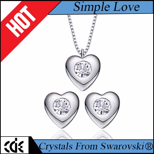 CDE crystals from Swarovski factory wholesale 2017 fashion jewellery 925 Sterling Silver women heart necklace