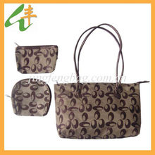 2014 fashion ladies jacquard three pieces handbag