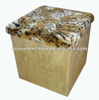 well sale ! tiger fur and suede foldable storage ottoman&pouf