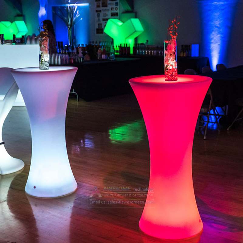 Mange debout Lumineux LED Multicolore - ROUND led cocktail bar table