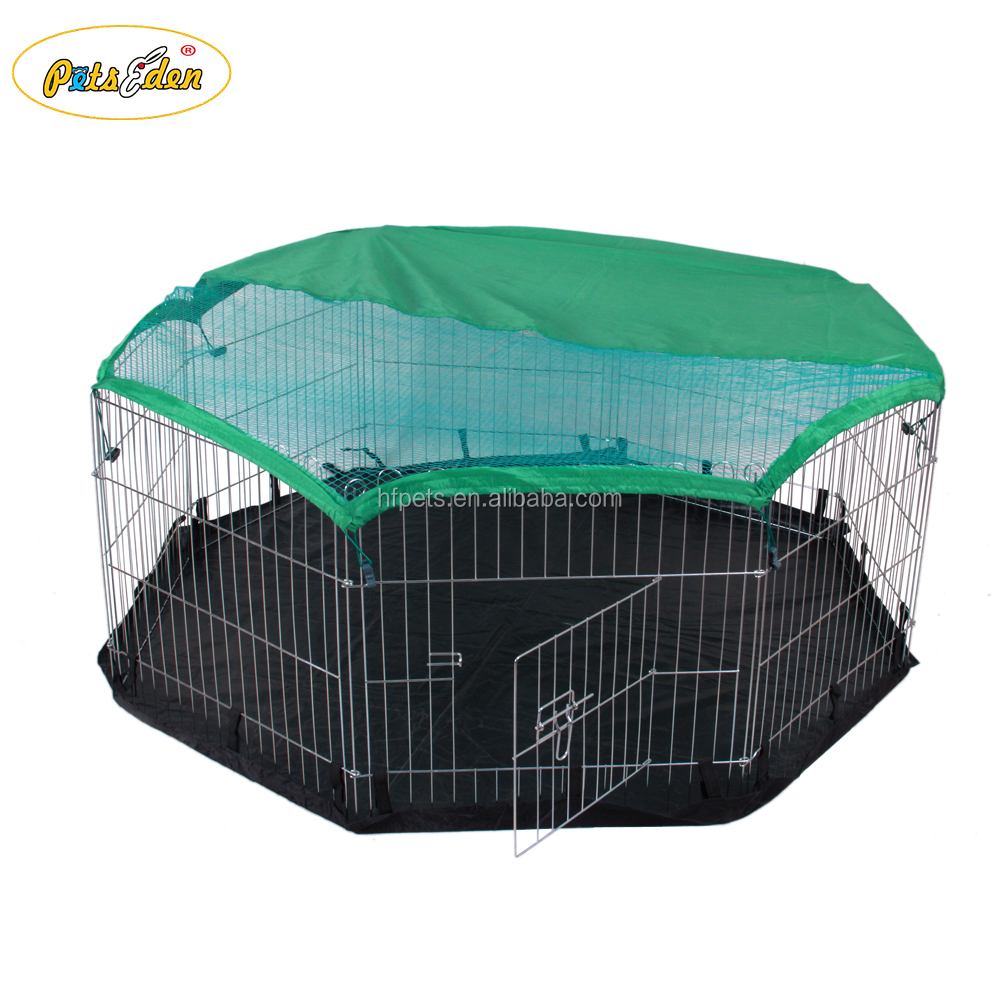 High Quality Metal Wire Folding Pet Fence Rabbit Hutch With a Cover And Floor
