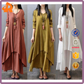2017 factory new arrival elegant women's loose cotton long sleeve double layers linen mini flare dress