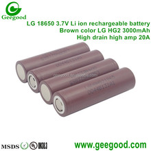 LG 18650 battery brown HG2 3000mAh high amp 20A li ion rechargeable battery