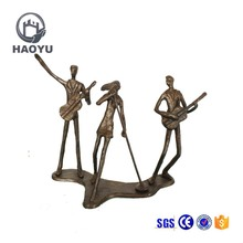 Abstract art and crafts antique bronze music band statues for home decoration