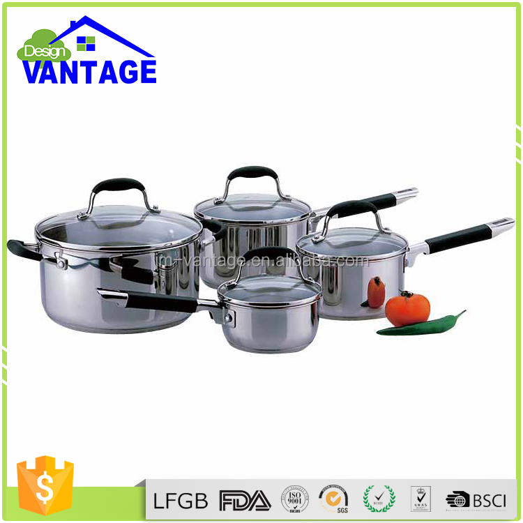 Heat resistant 8pcs kitchen cooking pots stainless steel cookware set for induction cooker