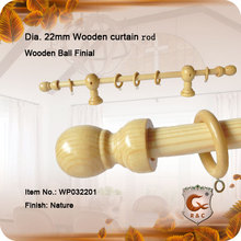22mm Pine roundnew design wood curtain pole with wooden bracket