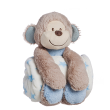 Infant baby stuffed animal toy set monkey plush toy with blanket