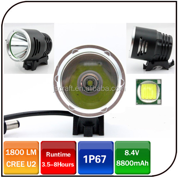 CREE XML <strong>U2</strong> 1800 lumen IP67 8.4v 8800mAh battery rechargeable <strong>led</strong> bicycle headlight