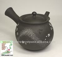 Japanese black pottery teapot T-192 with ceramic made expert craftsman special sculpture