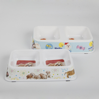 High quality 12Inch double diner anti-slip melamine pet bowl