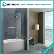 stainless steel economic tempered glass hinge bath screen