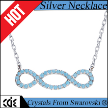 CDE fashion 2017 jewelry bulk wholeslae 925 sterling silver chain simple design turquoise pendant necklace for girl