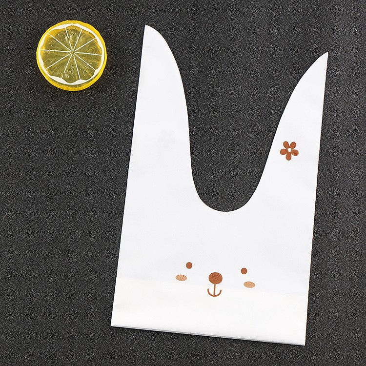 cute rabbit ear cookie bags Self-adhesive Plastic Bags easter bunny ear Biscuits Snack Baking bag
