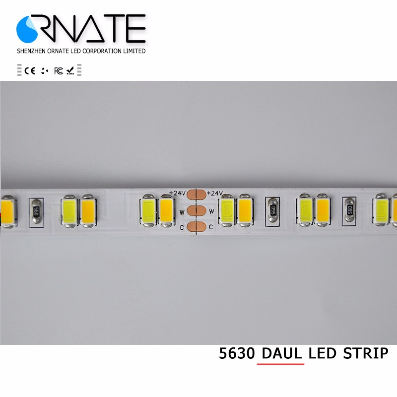 White+Warm white color temperature adjustable 120led/m smd 5630 dual led strip 12/24v