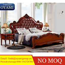 French style solid wood beautiful white bedroom furniture, royal hand carved elegant bedroom set