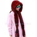 CX-C-33D New Products Wholesale Hooded Scarf / Mink Fur Hat With Scarf