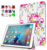 Shatterproof embossing pu leather colorful pattern foldable leather stand cover tablet case for iPad Pro 9.7