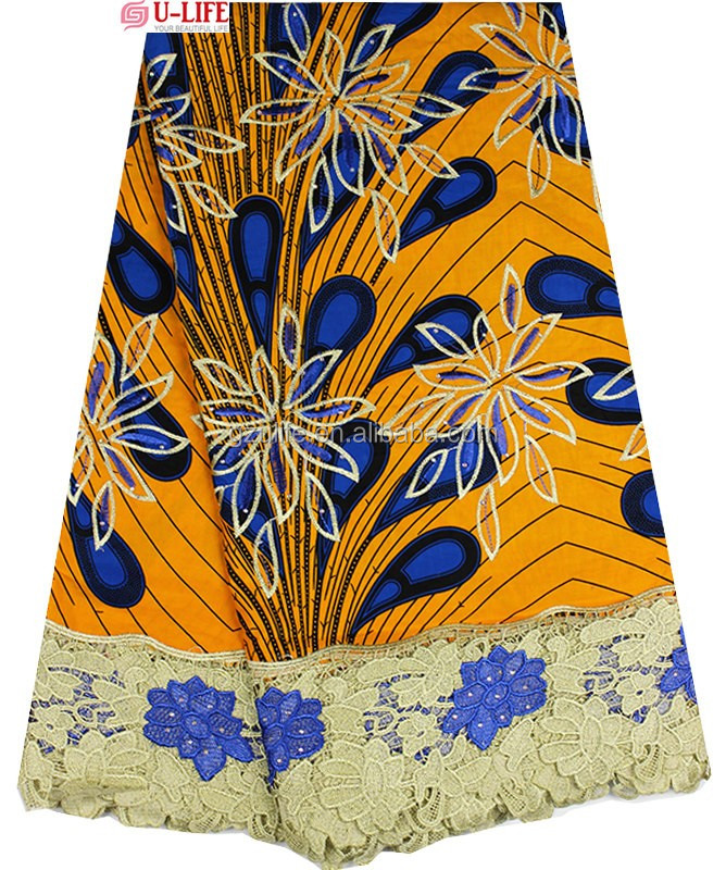 2016 African wax embroideried lace fabrics with Stones ,Ankara Lace fabrics for Nigeria Party