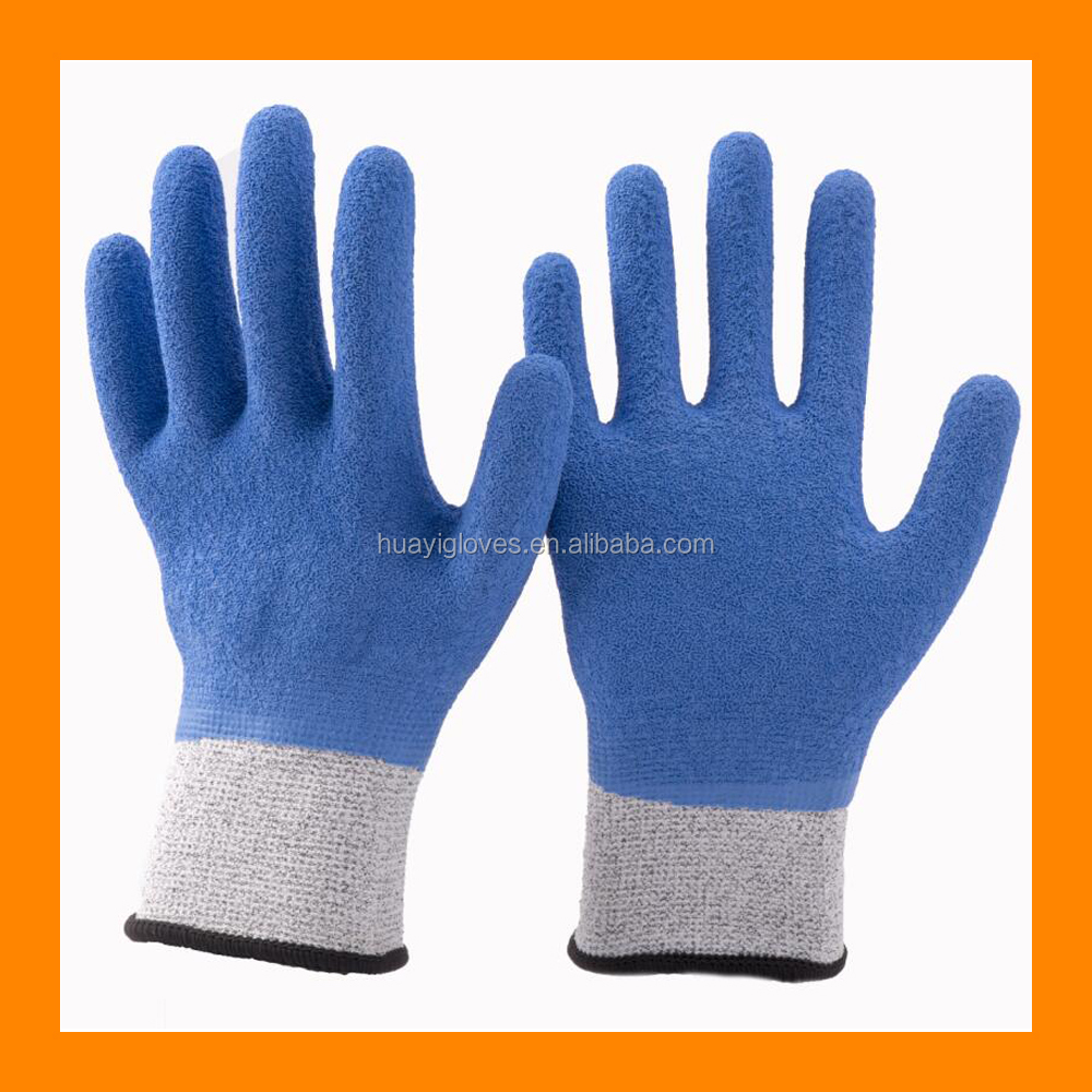 13 Gauge HPPE Full Latex Coated Anti Cut Gloves Oil Resistant Cut Proof Gloves with Textured Grip Surface