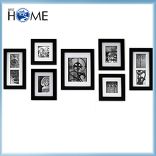 7-Piece Hanging Black Solid Wooden Wall Picture Photo Frame Set with White Mats