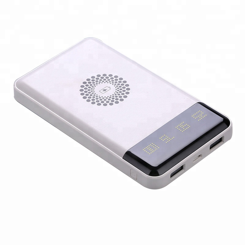 Toptai 6000mah Qi Wireless Charger LED Display Power Bank for smartphone