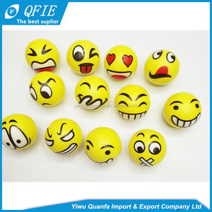 High quality 5cm soft foam PU solid emoji custom anti stress ball for promotional toys