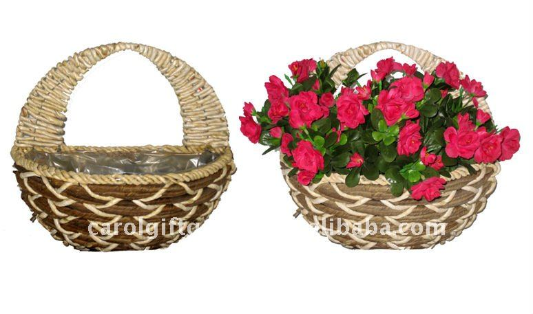 Rattan and Banana leaf rope Wall basket- Wall planter - Rattan and Banana leaf Wall flower pot