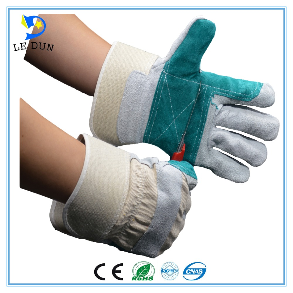 AB grade Green Double Palm Leather Gloves Welding Working Cow Split Gloves