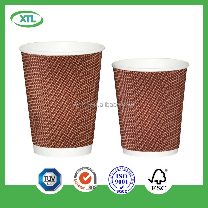 good looking disposable customized logo print double kraft ripple sleeve for foam cups
