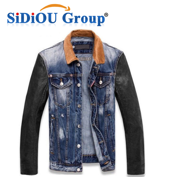 Mens Warm Padded Leather Sleeves Denim Quilted Button Down Jacket