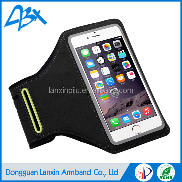 Universal smart neoprene armband case for iphone 6s plus with Key Holder and Card Slot;Black color