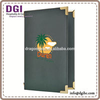 Double Panel pvc cover book / bar tray/ Menu Covers hotel leather product