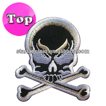custom jacket decoration clothing embroidery skull patches for garment