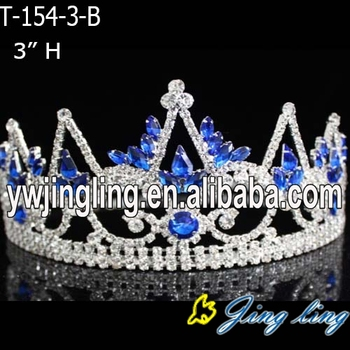 "3"" Sapphire cheap rhinestone wedding tiara and pageant crowns"