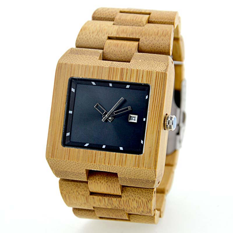 New private design dial china watch manufacturer men sport square bamboo wood watch