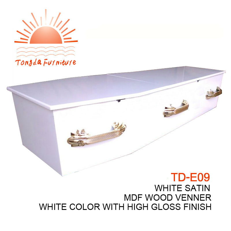 TD-E09 white high gloss flat lid coffin