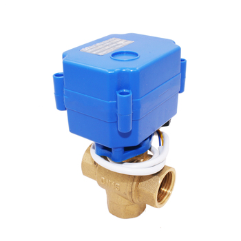 "1/2 inch 1/2"" dn15 3/4"" dn20 female male mini brass motorized operated 3 way ball valve price for HVAC"