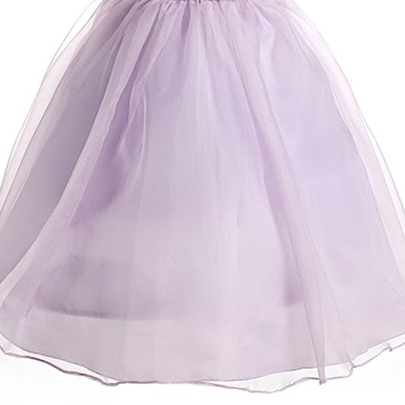 Lavender Elegant Floral Patterned Ruched Bodice Flower Girl Dress With Lace Top