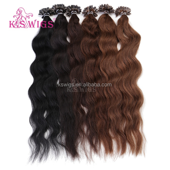K.S WIGS 2016 Inventory U-tip/ Nail Tip Hair Extensions Wavy Style Indian Virgin Hair Wholesale Order Prices Extensions