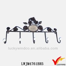 five hooks shabby chic floral design metal bath room towel rack