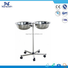 stainless steel sugical Instrument trolley mayo table with double bowls(YXZ-A035)