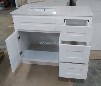 Modern white color waterproof bathroom cabinet with precut granite countertops